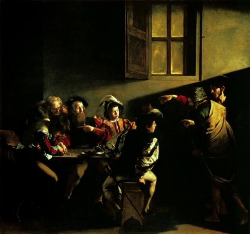Caravaggio La vocazione di San Matteo wikipedia.jpg