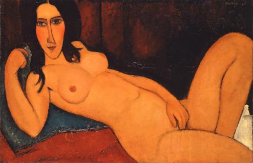 Modigliani Nudo disteso con capelli sciolti